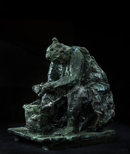 Peeling Potatoes by Alexander Sviyazov, Bronze Sculpture