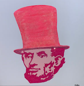 """Abe"" By Jill Keller, Acrylic and Glitter on Gallery Wrapped Canvas"