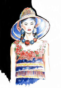 """Dolce&Gabbana Spring 2019 RTW"" By Olga Bakke, Mixed Media on Watercolor Paper"