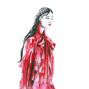 """Valentino PRE-FALL 2019"" By Olga Bakke, Water Color Paper"