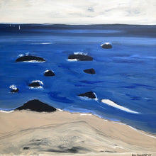 """Black Rocks, Blue Sea"" By Karen Bezuidenhout, Mixed Media on Canvas"