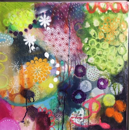 Flower Waves by Susanne Kurwig, Mixed Media on Canvas