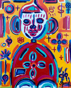 """Little Buddha"" By Maxime Stamati, Acrylic on Canvas"
