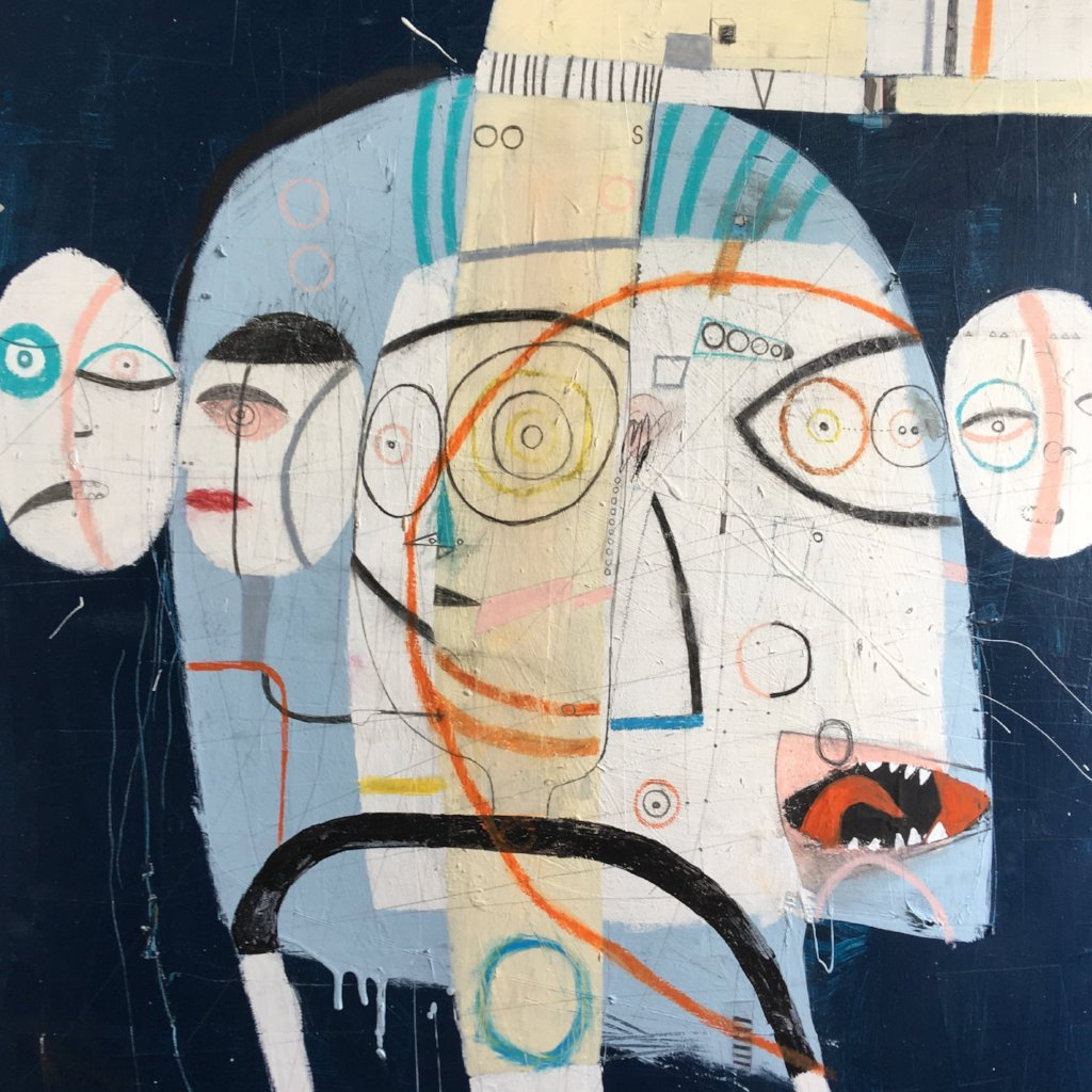 Some Heads are Going to Roll by Tony Butler, Mixed Media on Canvas