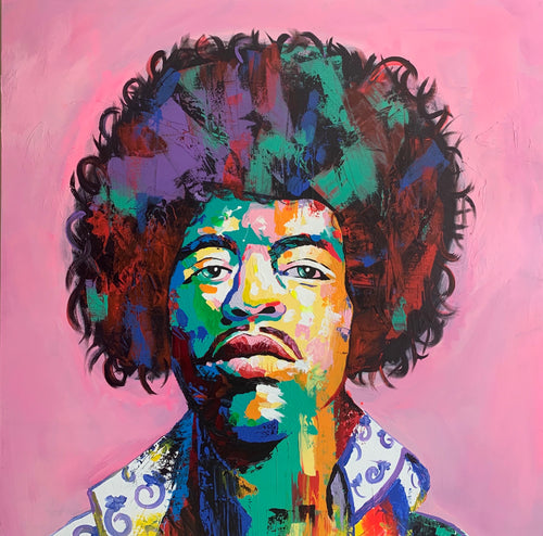 """Jimi Hendrix 1"" By Israel Rodriguez, Acrylic on Canvas"