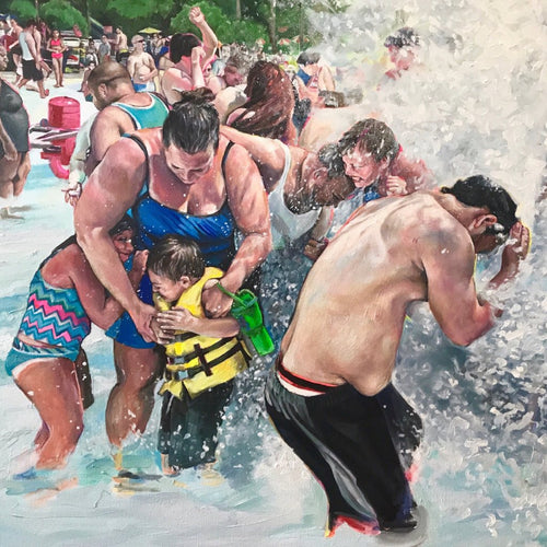 People of Six Flags - Deluge by Candice Flewharty, Oil on Canvas