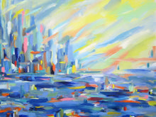 Bib Blue City Scape by John Kneapler, Acrylic on Canvas