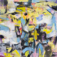 Walk on By, Yellow and Blue by Lynn Letourneau, Mixed Media on Canvas
