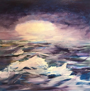 Violet Seas by Linda King, Acrylic and Collage on Canvas