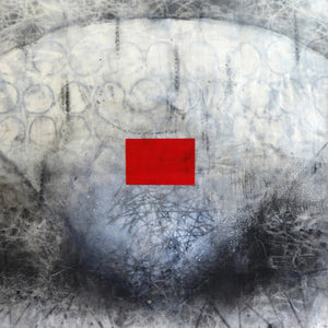Webbings & The Red Rectangle by Mira White, Encaustic & Mixed Media, Panel