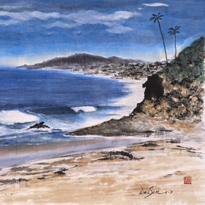 Ocean Sculpture by WaiSin Tong - Darbonne, Chinese Watercolors on Shaun Rice Paper