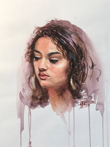 """Portrait Study 1"" By Galina Richardson, Watercolor on Paper"