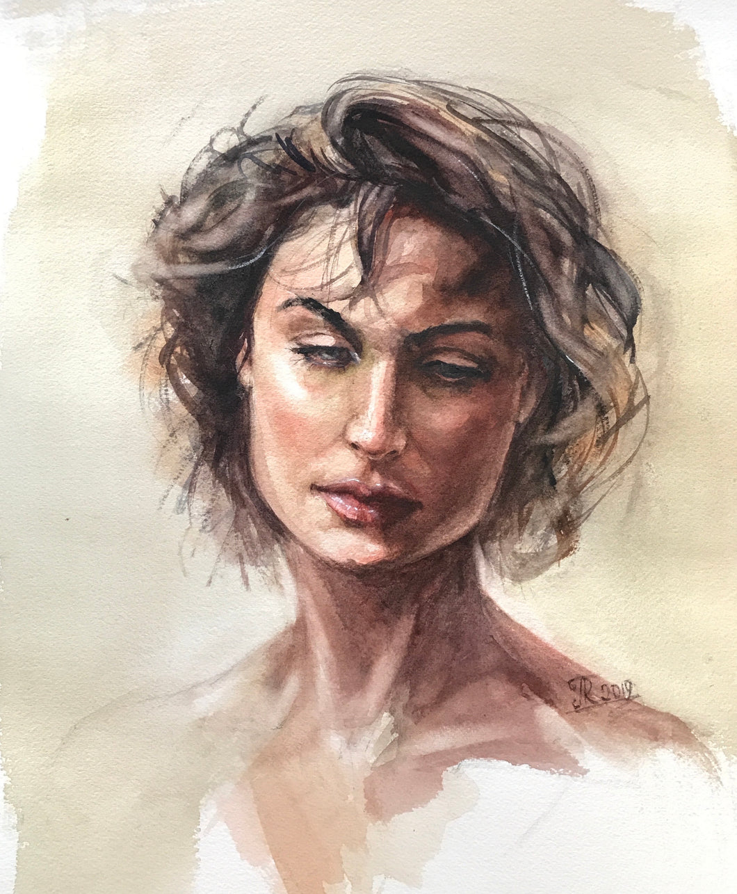 """Portrait Study 2"" By Galina Richardson, Watercolor on Paper"