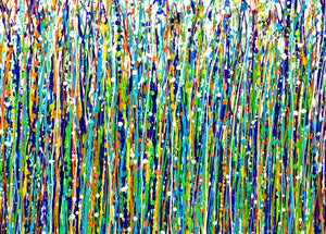 ''Rain Over Spring Grass'' By Mihaela Stoenescu, Acrylic on Canvas
