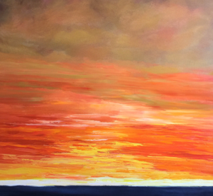 """Pebble Beach Sunset"" By Laureen Weaver, Oil on Canvas"