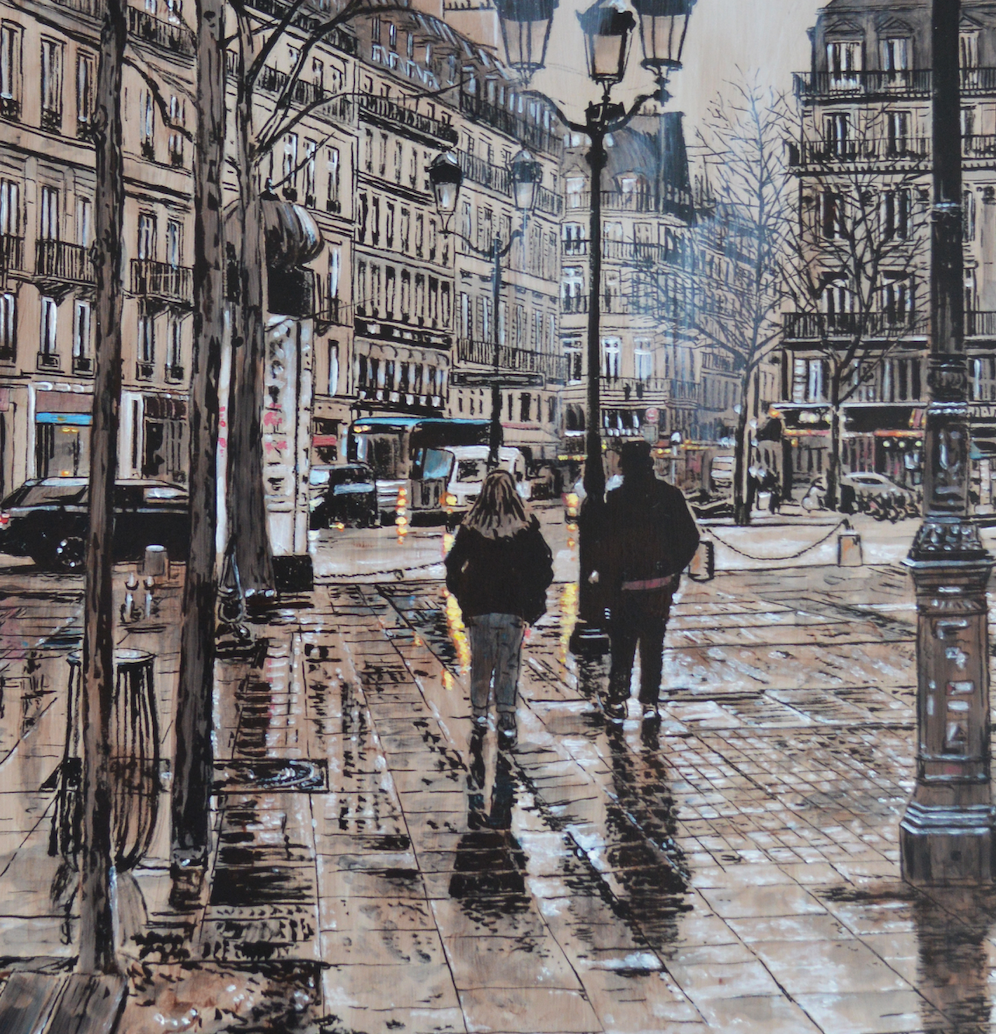 """A Walk in the Rain"" By Keith Oelschlager, Acrylic on Canvas"