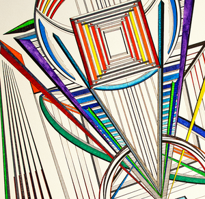 """Abstract Joy no. 2"" By Bill Sotomayor,  Mixed Media Drawing on Watercolor Paper"