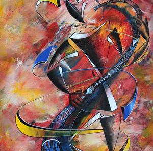 """Pembe Instrumental Series"" By Abu Mwenye, Acrylic on Canvas"