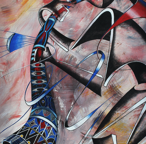 """Tarumbeta Instrumental Series""  By Abu Mwenye, Acrylic on Canvas"