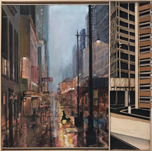 """Chicago Evening"" By Luna, Oil on Canvas"