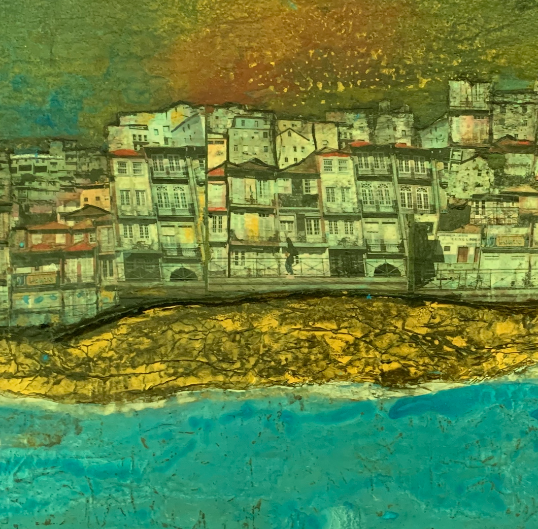 """Lisbon 2020"" By Terenia Offenbacker, Mixed Media on Wood Panel"