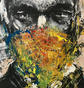"""Vincent Cassel Masked"" By Eric Son, Mixed Media on Wood"