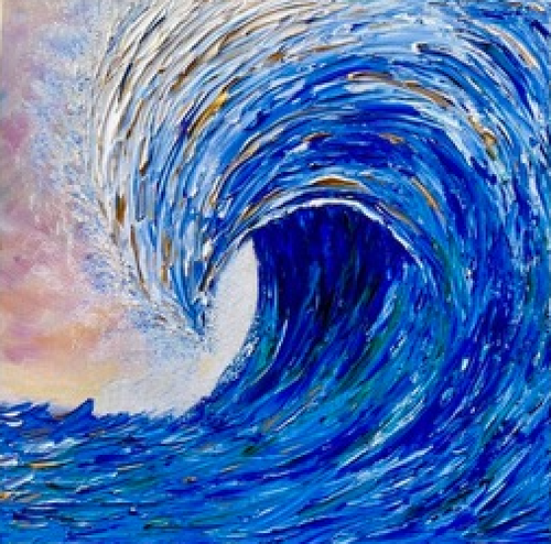 """Wave in Blue"" By Shawn Towne, Acrylic on Canvas"