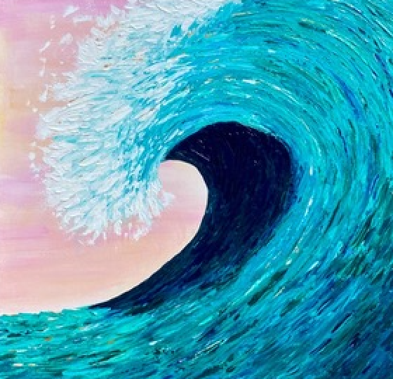"""Wave in Teal"" By Shawn Towne, Acrylic on Canvas"
