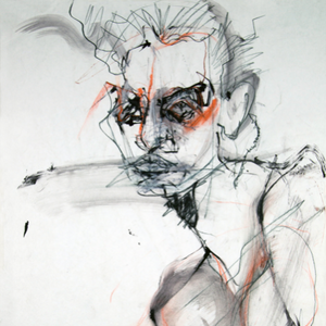 Male Portrait in Orange by Cristina Paulos, Mixed Media On Paper