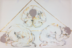 Traid, Three Males in Prayer, Mixed Media on Cotton Paper