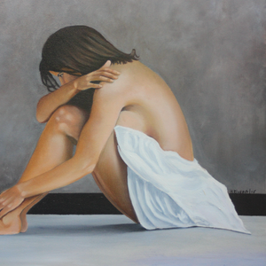 """Woman With White Cloth"" By Hernan Riviera, Oil on Canvas"