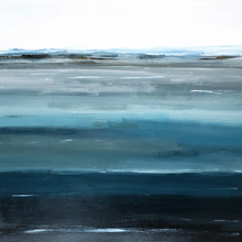 """Layers of Water Blue"" By Sallie Otenasek, Acrylic on Wood"