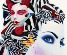 """Arlequin Geisha"" By Nyx Sanguino, Acrylic and Oil on Canvas"