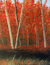 """Birches in the Fall"" By Annette Tan, Acrylic on Canvas"