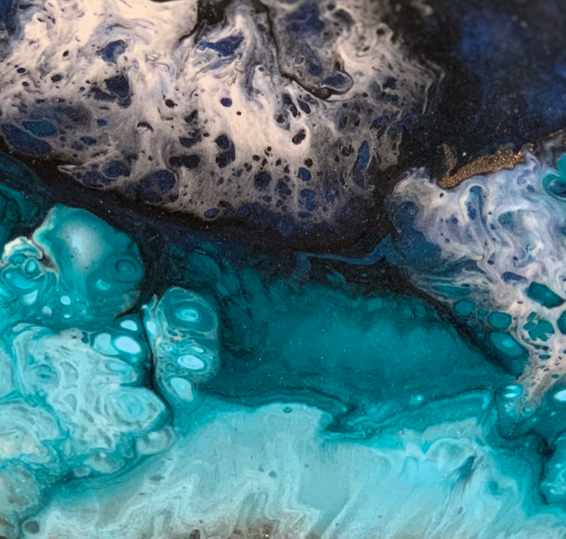 """Blue Ice Volcano"" By Shelley Wilder, Resin, Acrylics and Inks on Glass"