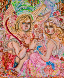 """An Angel and A Goddess of Art"" By Yumi Sugai, Oil on Canvas"
