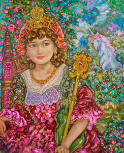 """Telopair Flower Princess"" By Yumi Sugai, Oil on Canvas"