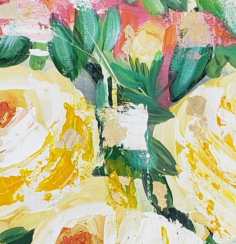 """Party Roses"" By Brenda Bush, Acrylic on Canvas"