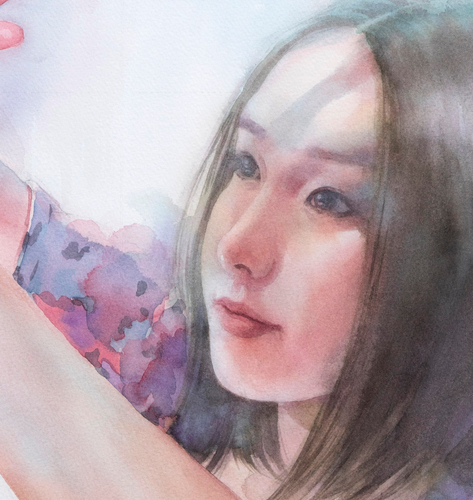 """Moment of Bliss"" By Atushi Matsubayashi, Transparent Watercolor"