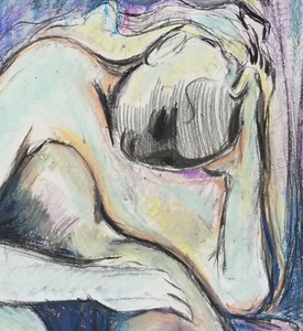 """Untitled"" By Fahimeh Sorkhabi, Oil Pastel and Pencil on Paper"