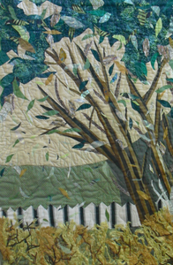 """Under the Shady Tree"" By Ann May, Fiber Art Quilt"