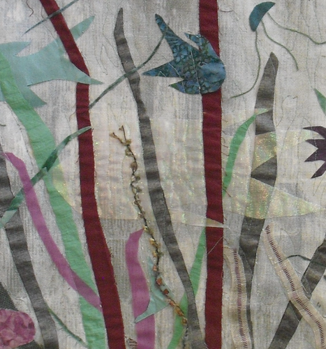 """Life Among the Seaweed"" By Ann Baldwin May, Fiber Art Quilt"