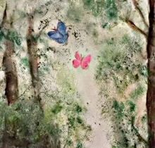 """Butterfly Forest"" By Michela Curtis, Oil on Canvas"