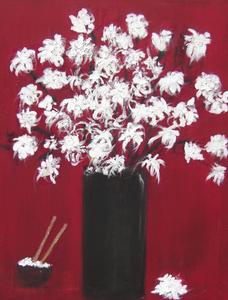 """Chrysanthemums and The Rice Bowl"" By Michela Curtis, Oil on Canvas"
