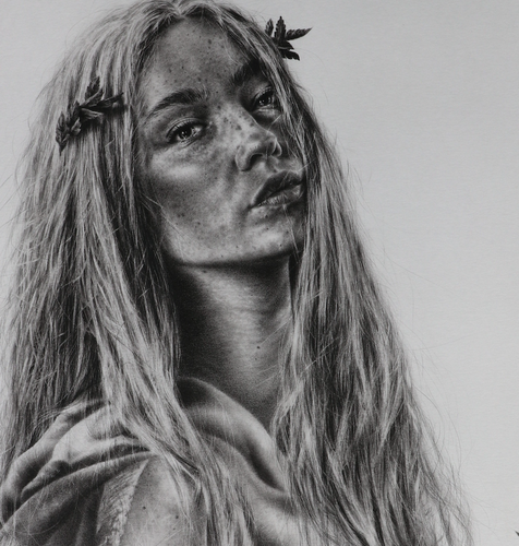 """Lady of Athens"" By  Brett Wagner, Charcoal and Graphite on Paper"