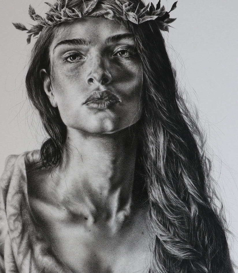 """The Rose and Thorn"" By  Brett Wagner, Charcoal and Graphite on Paper"
