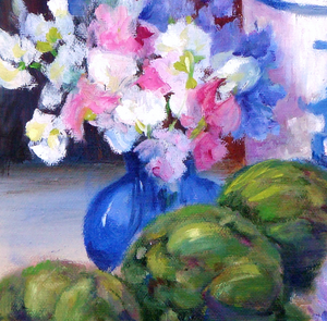 """Artichokes"" By Lolita Gene, Oil on Canvas Board"