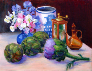 """Artichokes"" By Lolita Chin, Oil on Canvas Board"