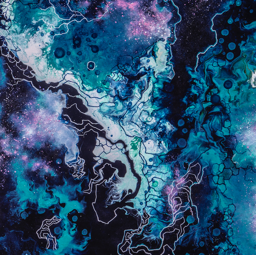 """Cosmic Ocean"" By Vicky Remiss,  Acrylic on Canvas"