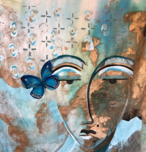 """Butterfly Lady"" By Trudy Norris, Acrylic on Linen"